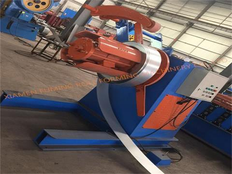 5T*600 Hydraulic un-coiler with top arm